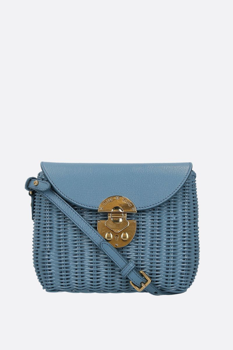 MIU MIU: wicker and grainy leather small crossbody bag Color Blue_1