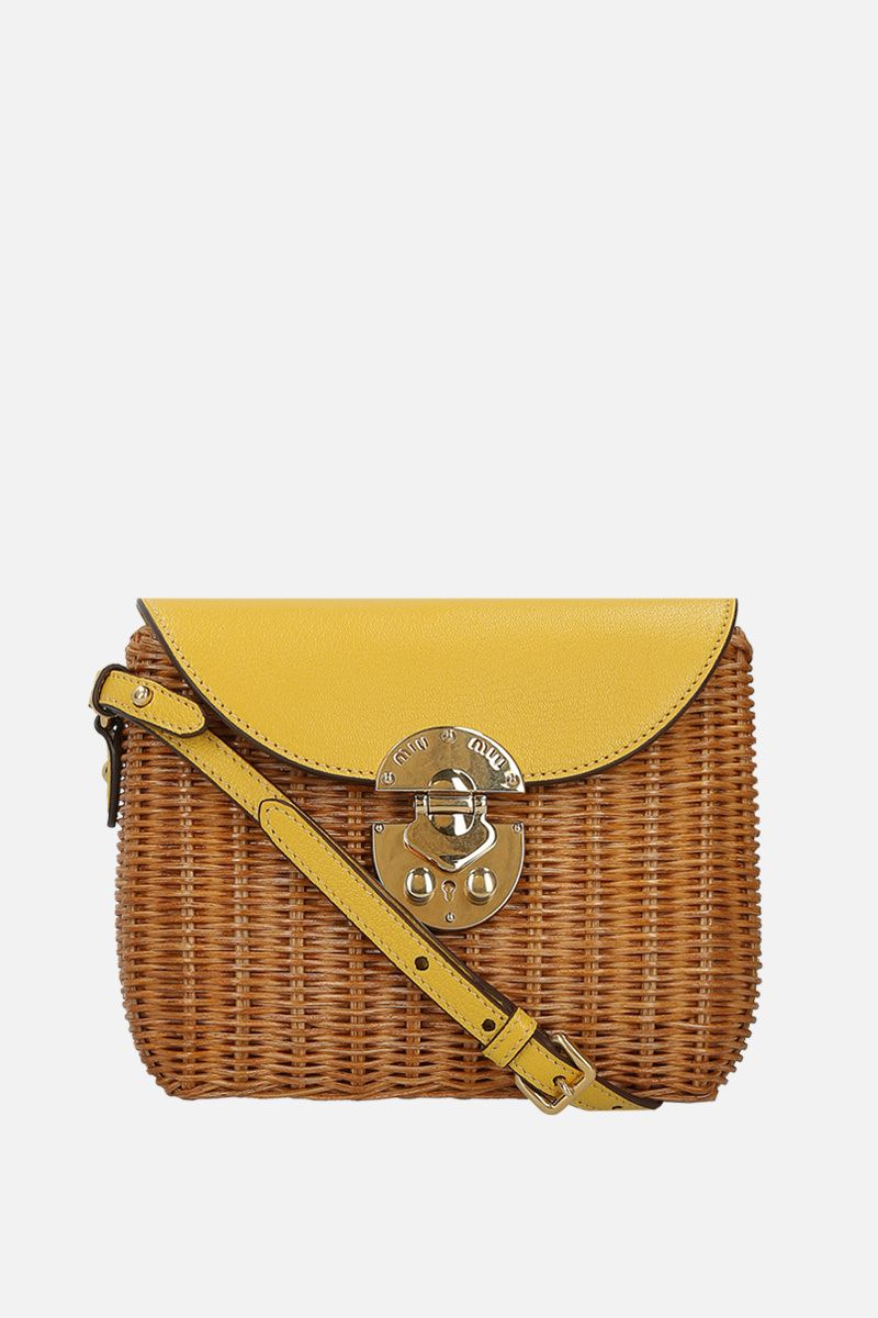 MIU MIU: wicker and grainy leather small crossbody bag Color Yellow_1
