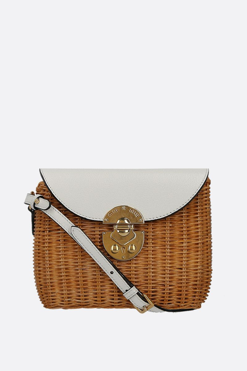 MIU MIU: wicker and grainy leather small crossbody bag Color Neutral_1