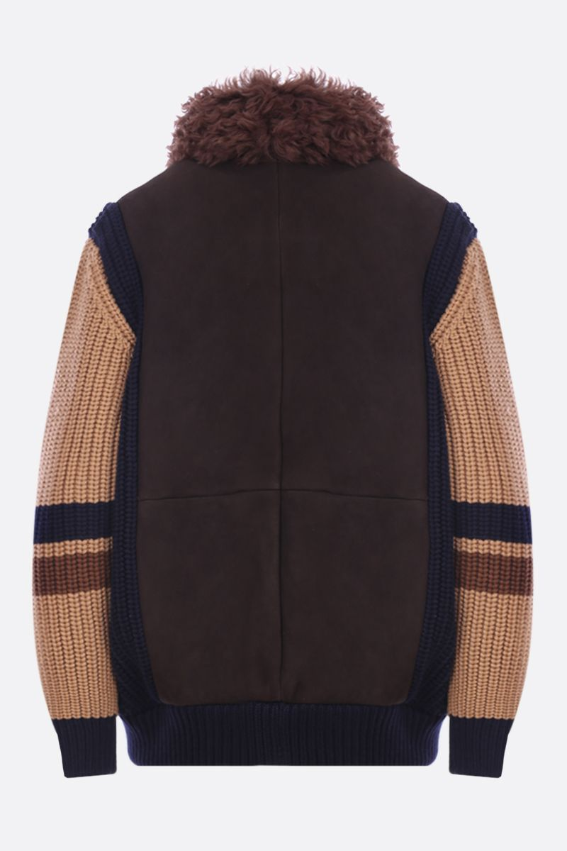 MIU MIU: shearling full-zip jacket with wool knit inserts_2