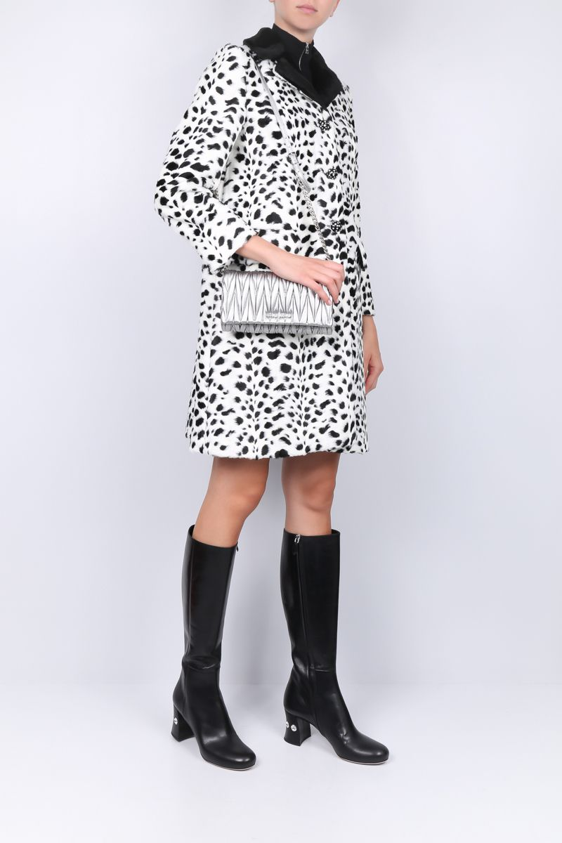 MIU MIU: faux fur single-breasted coat with animalier print Color Neutral_2