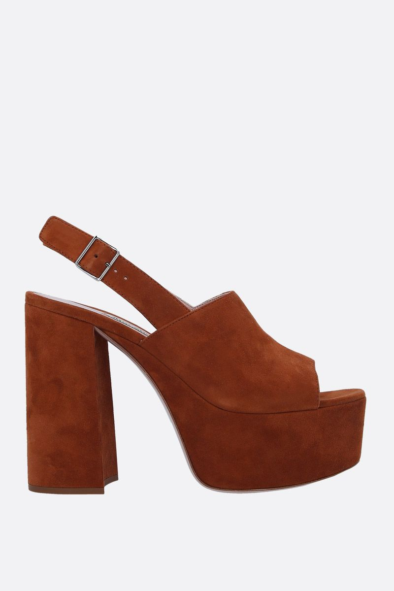 MIU MIU: suede platform sandals Color Brown_1