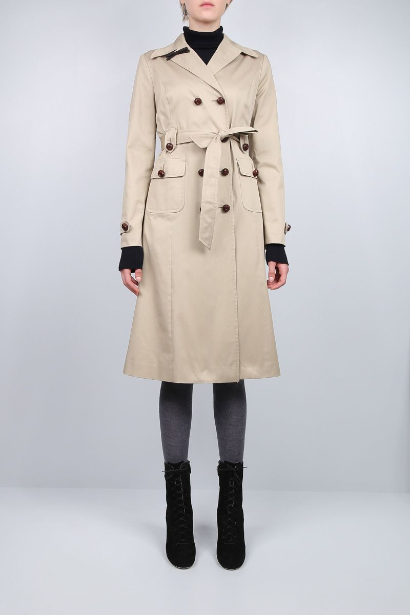 MIU MIU: stretch gabardine double-breasted trench coat Color Brown_2