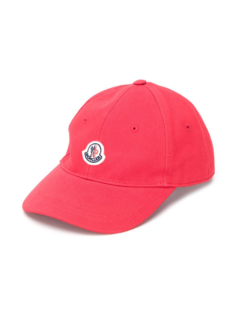 MONCLER KIDS: logo patch cotton baseball cap Color Red_1