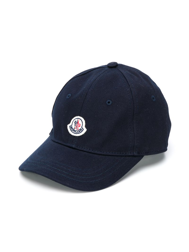 MONCLER KIDS: cappellino baseball in cotone patch logo Colore Blu_1