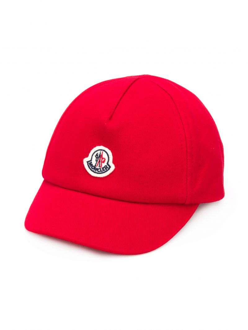 MONCLER KIDS: logo patch canvas baseball cap Color Red_1
