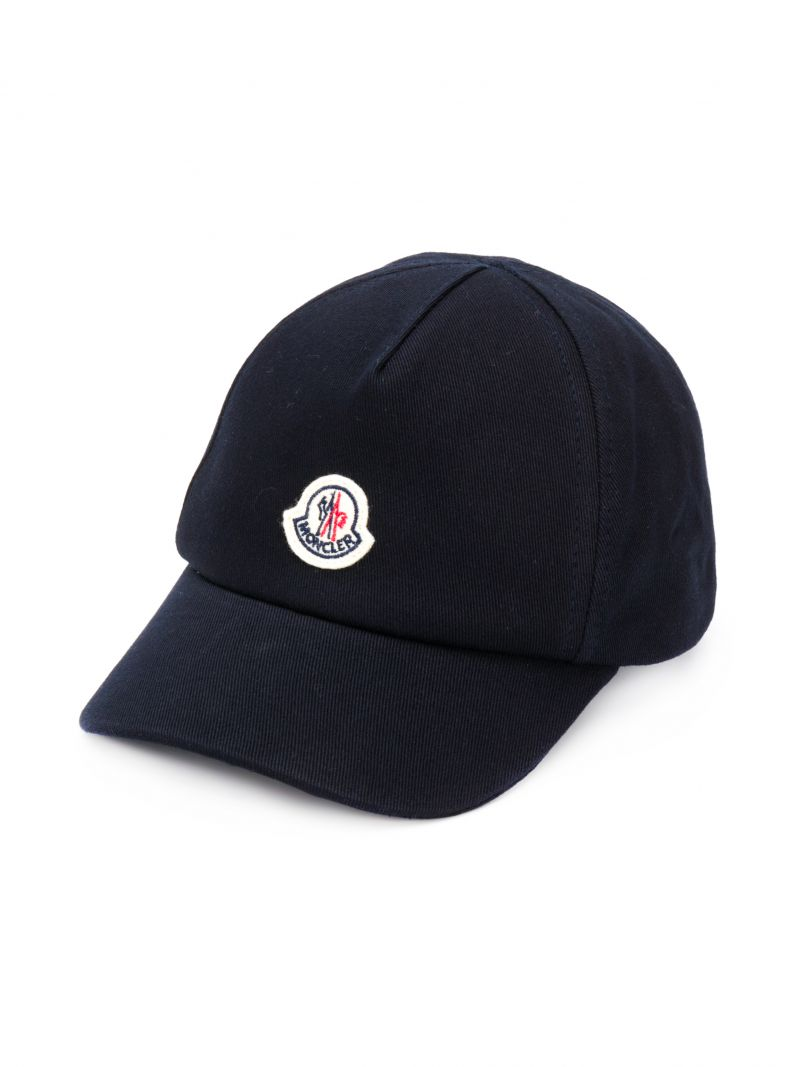 MONCLER KIDS: logo patch canvas baseball cap Color Blue_1