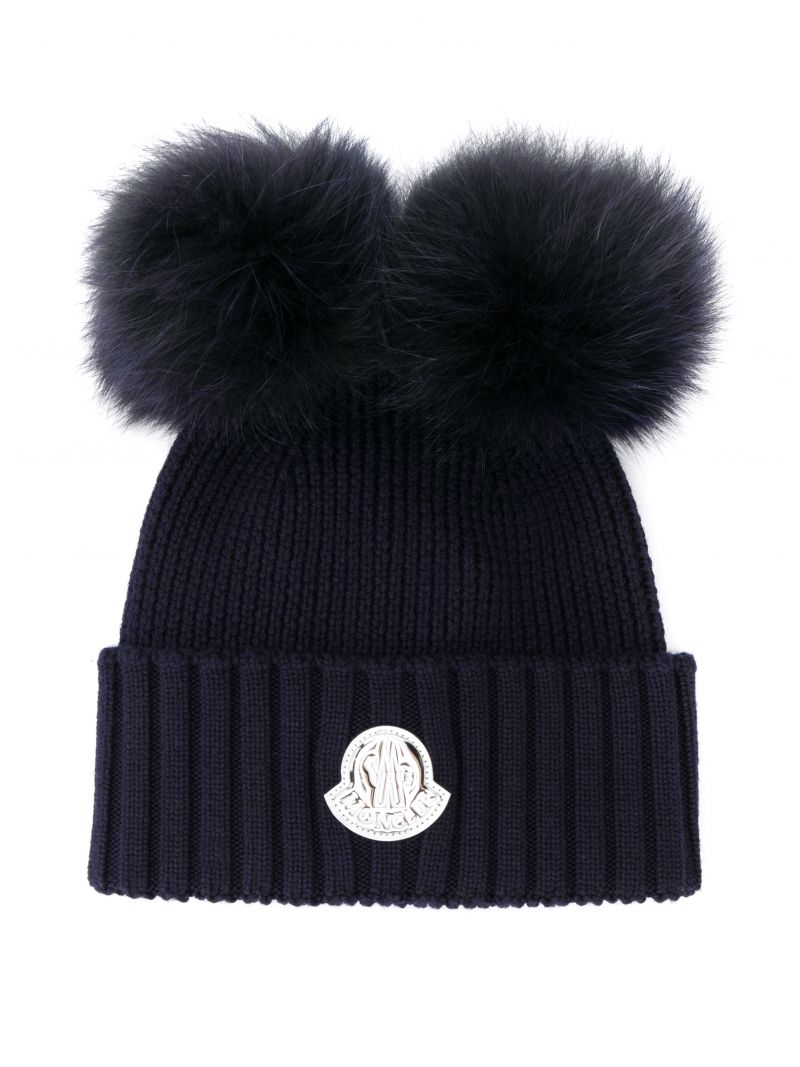 MONCLER KIDS: ribbed wool beanie with double-pompom Color Blue_1