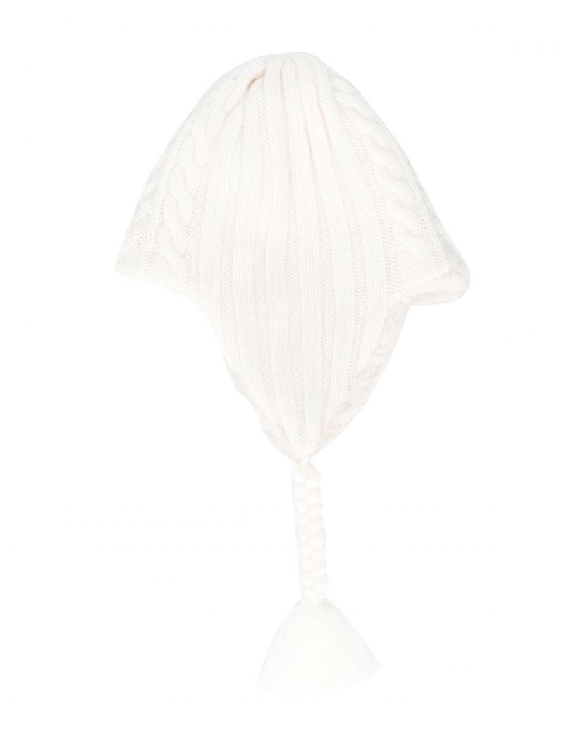 MONCLER KIDS: wool beanie with tassels detail Color White_1