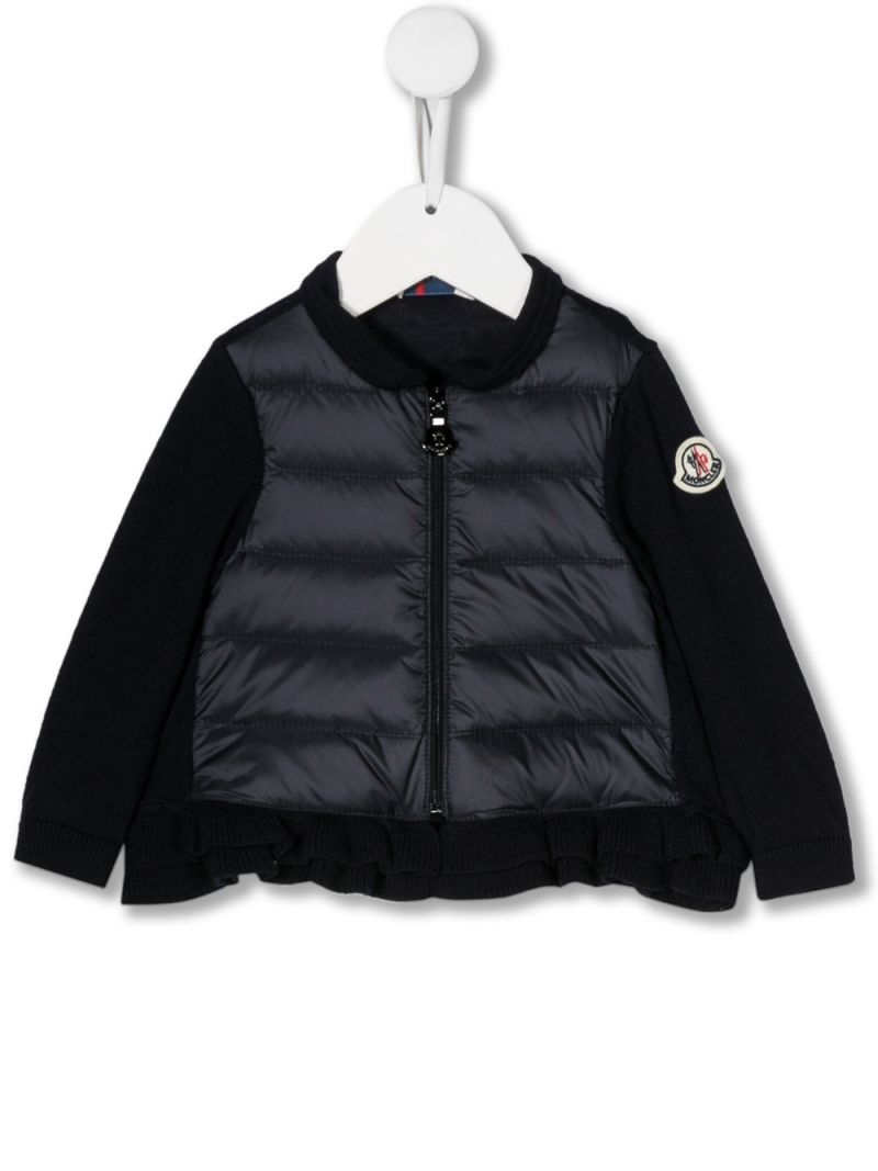 MONCLER KIDS: wool knit jacket with padded nylon insert Color Blue_1