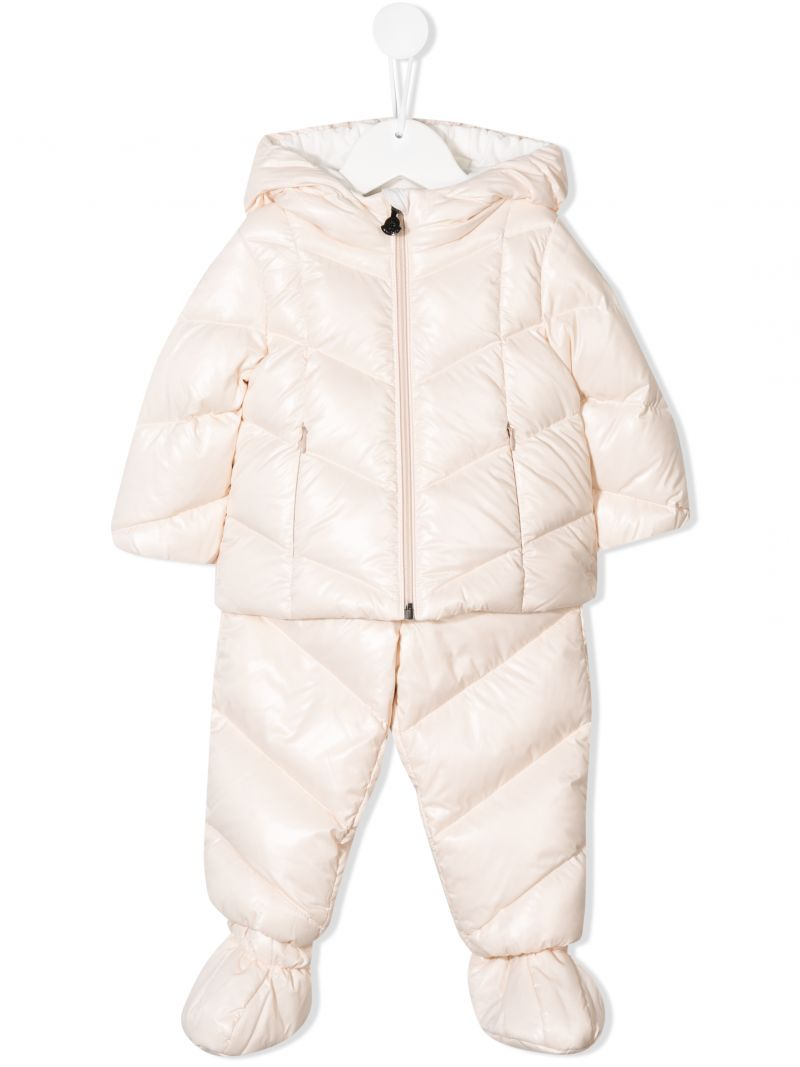MONCLER KIDS: down jacket and overalls in shiny nylon Color Pink_1