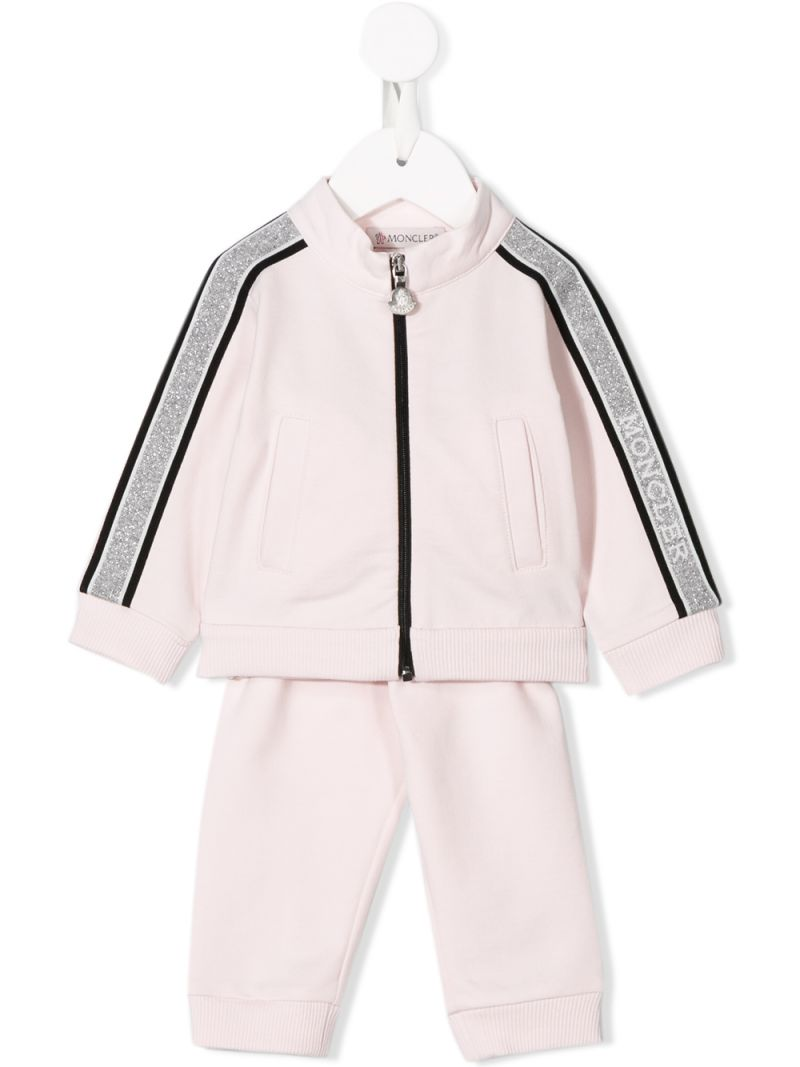 MONCLER KIDS: jersey tracksuit with logoed bands Color Pink_1