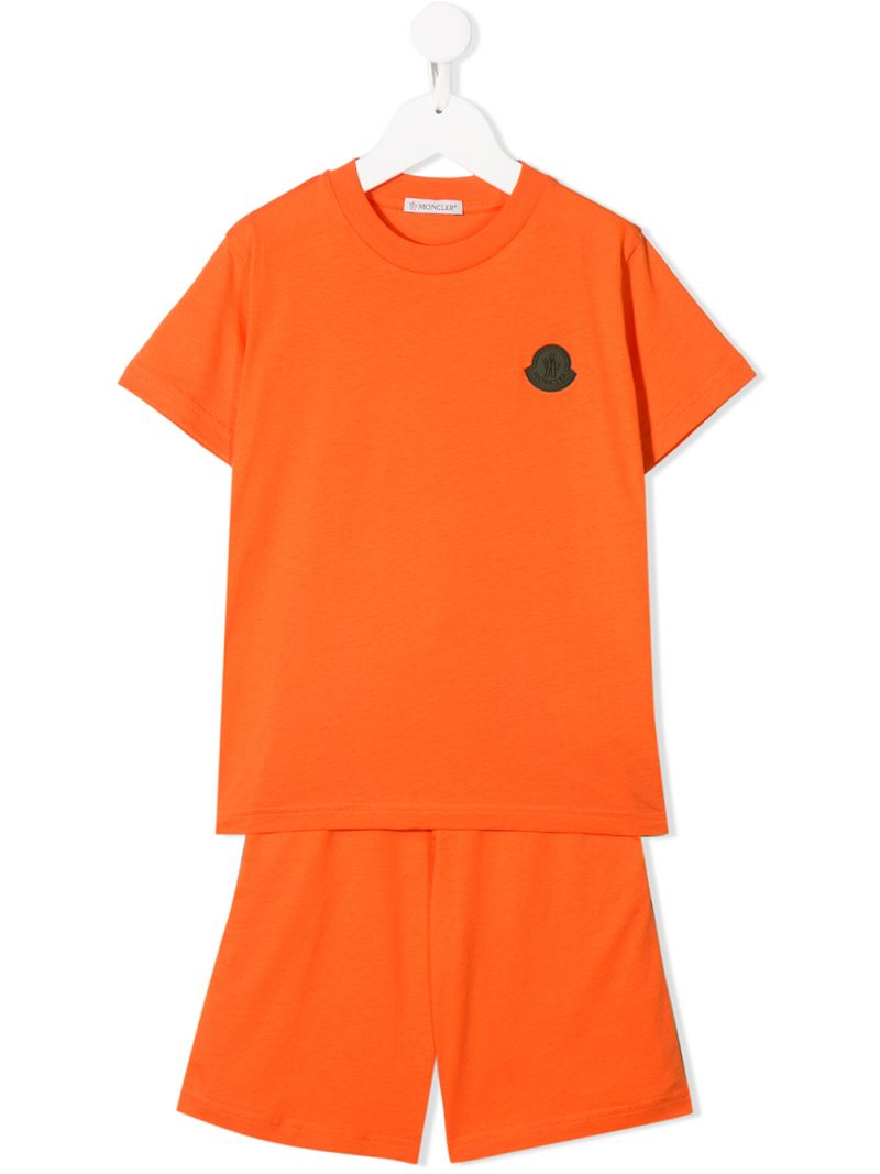 MONCLER KIDS: cotton jersey t-shirt and shorts Color Orange_1