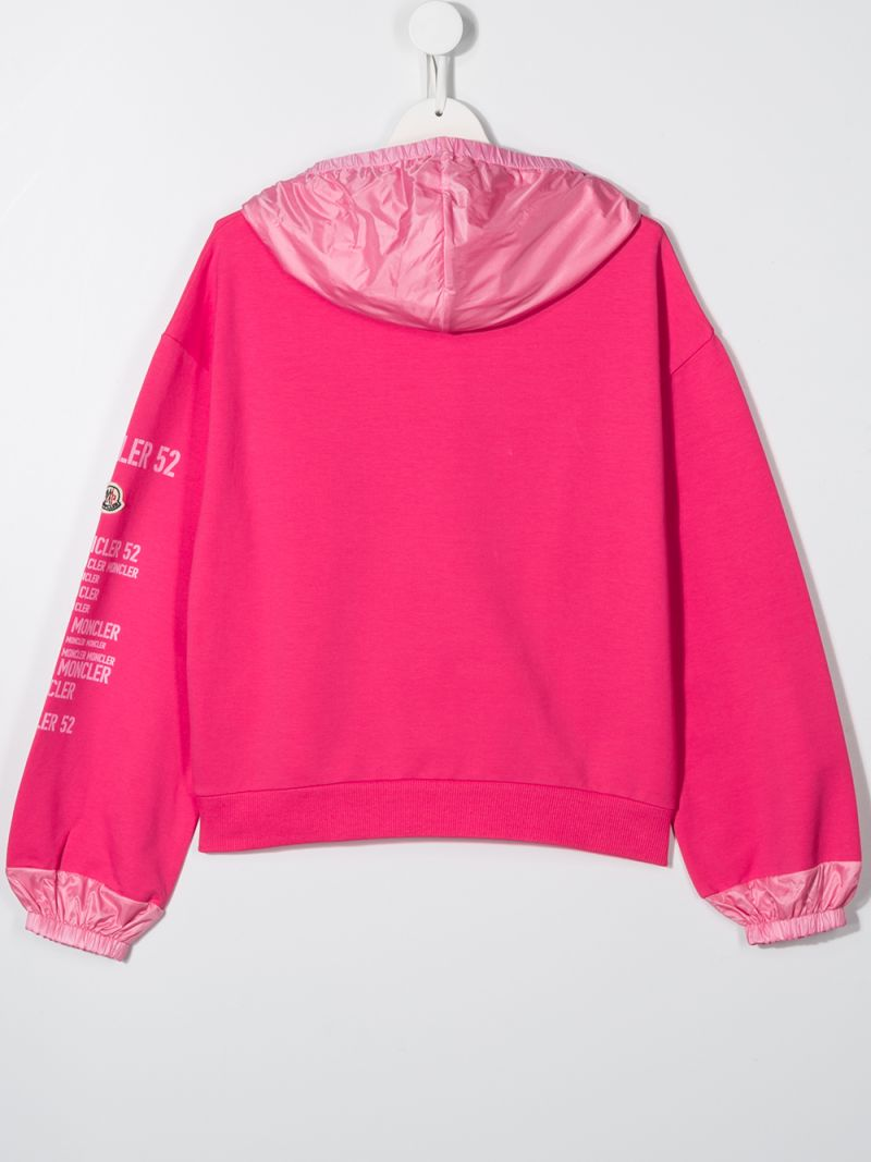 MONCLER KIDS: jersey hoodie with nylon inserts Color Pink_2