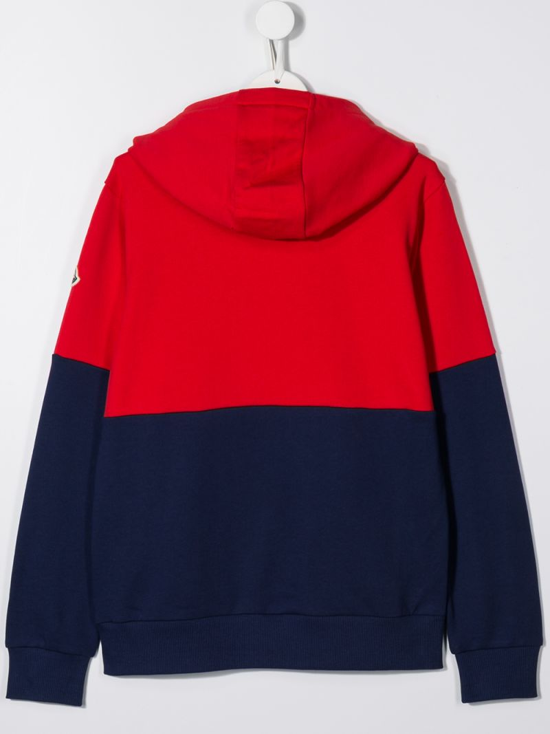 MONCLER KIDS: logo print colour-block cotton hoodie Color Blue_2