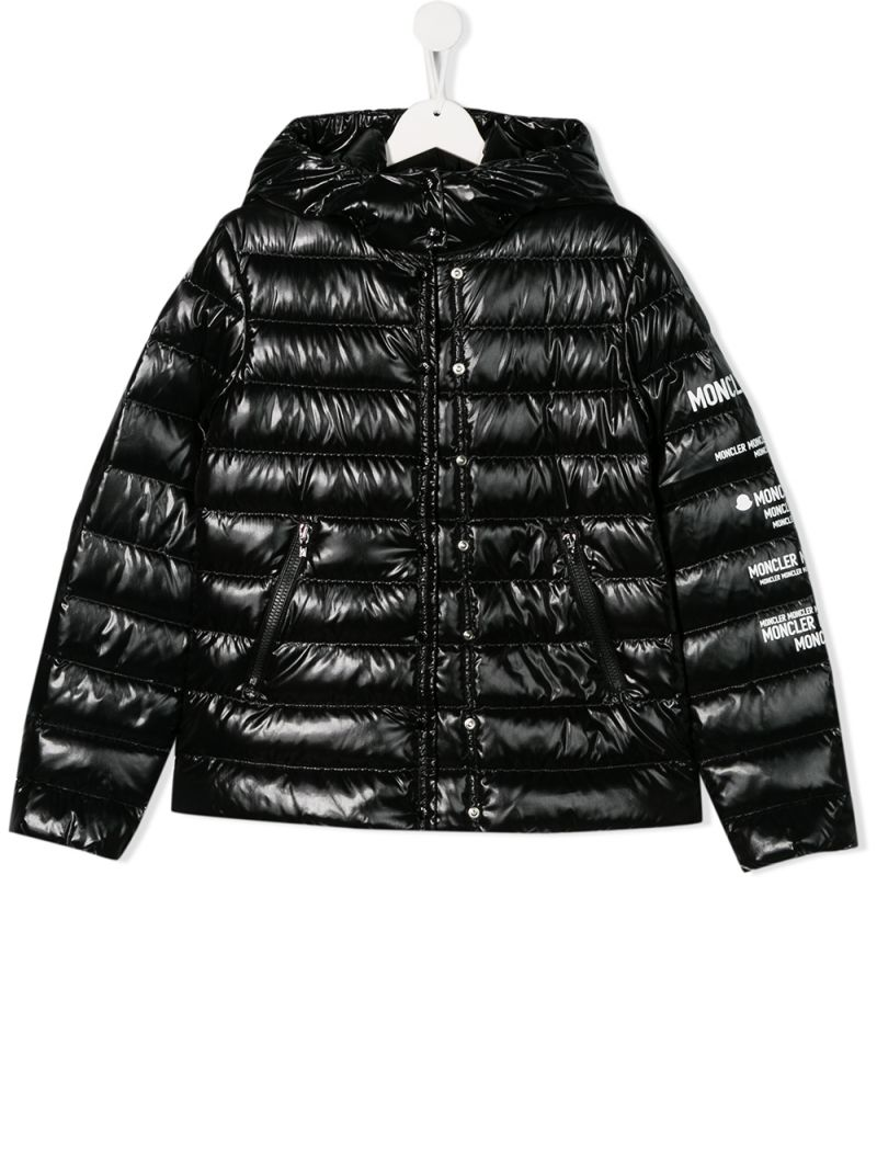 MONCLER KIDS: Tulipe down jacket in shiny nylon Color Black_1