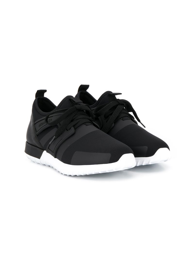 MONCLER KIDS: Elliot sneakers in neoprene and leather Color Black_1