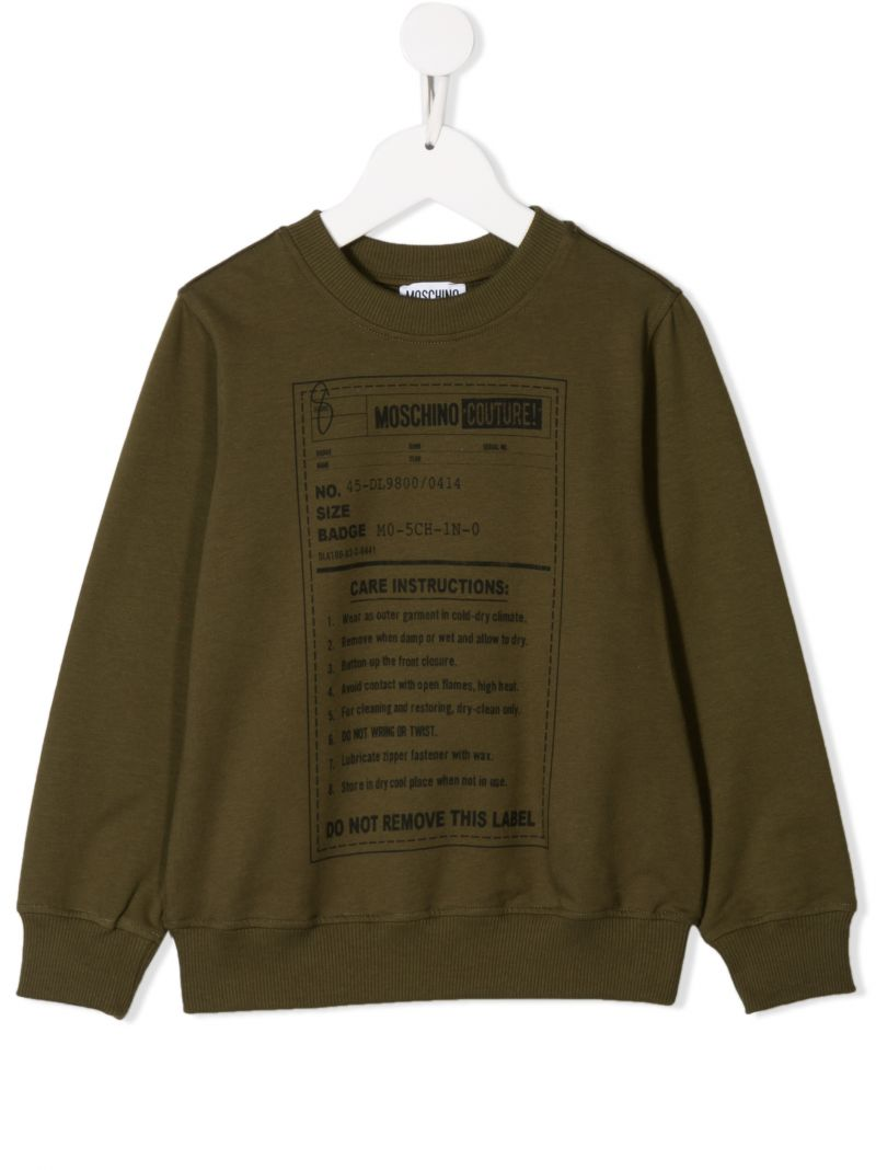 MOSCHINO KIDS: Army Label jersey sweatshirt Color Green_1