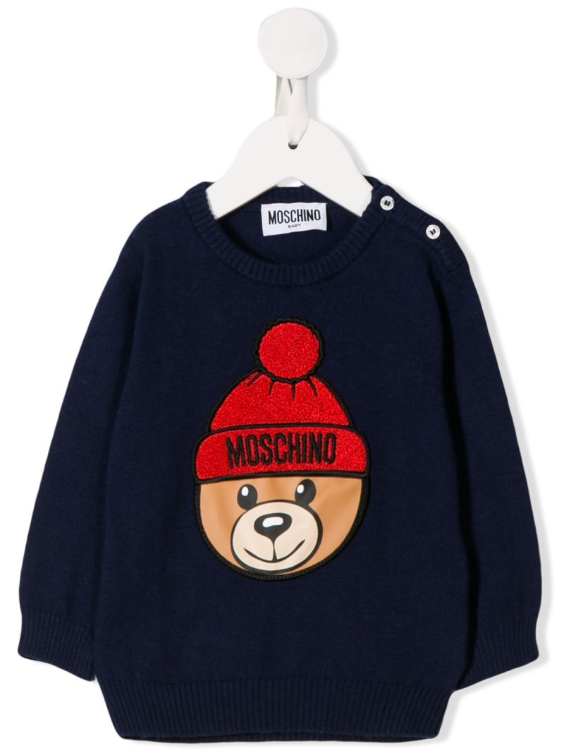 MOSCHINO KIDS: Winter Teddy Bear patch cotton wool blend pullover Color Blue_1