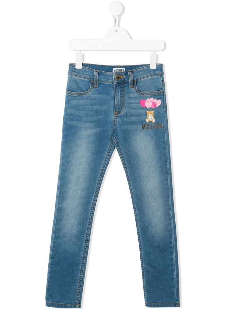 MOSCHINO KIDS: Heart Ballons Teddy Bear stretch cotton jeans Color Blue_1