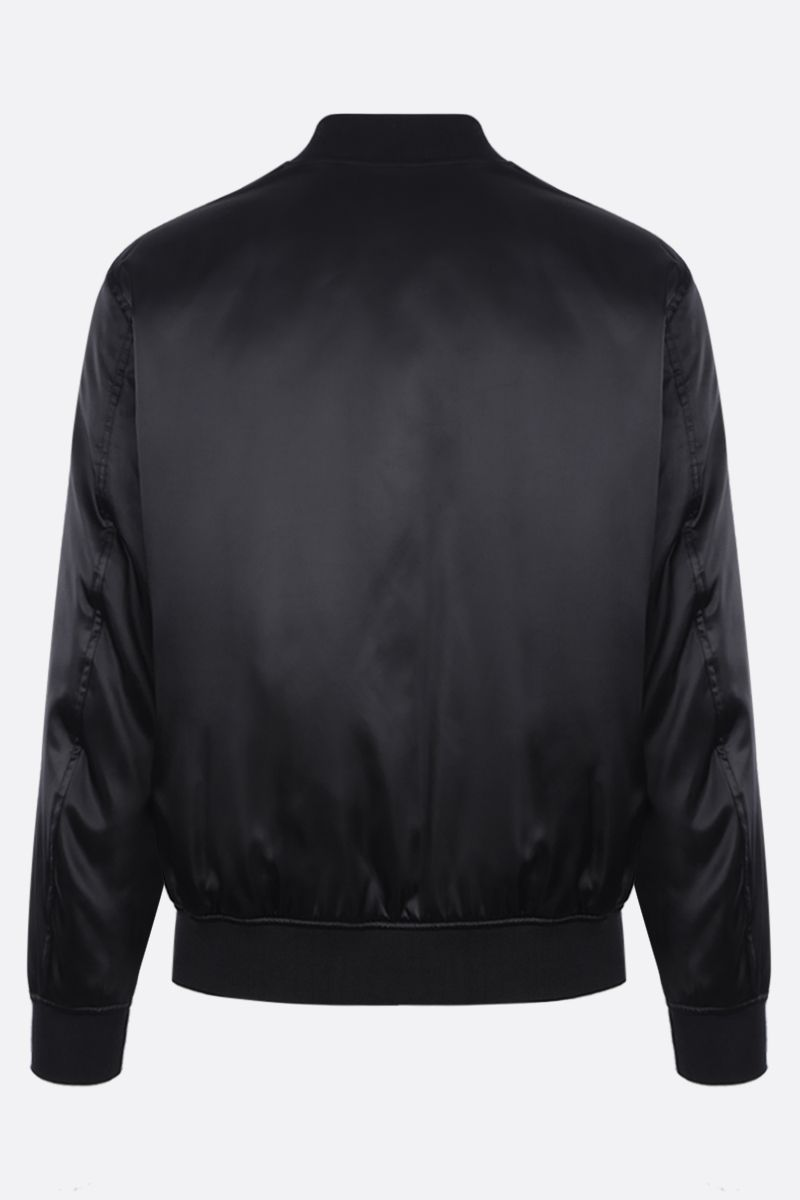 MOSCHINO: satin padded bomber jacket with logoed plaque Color Black_2
