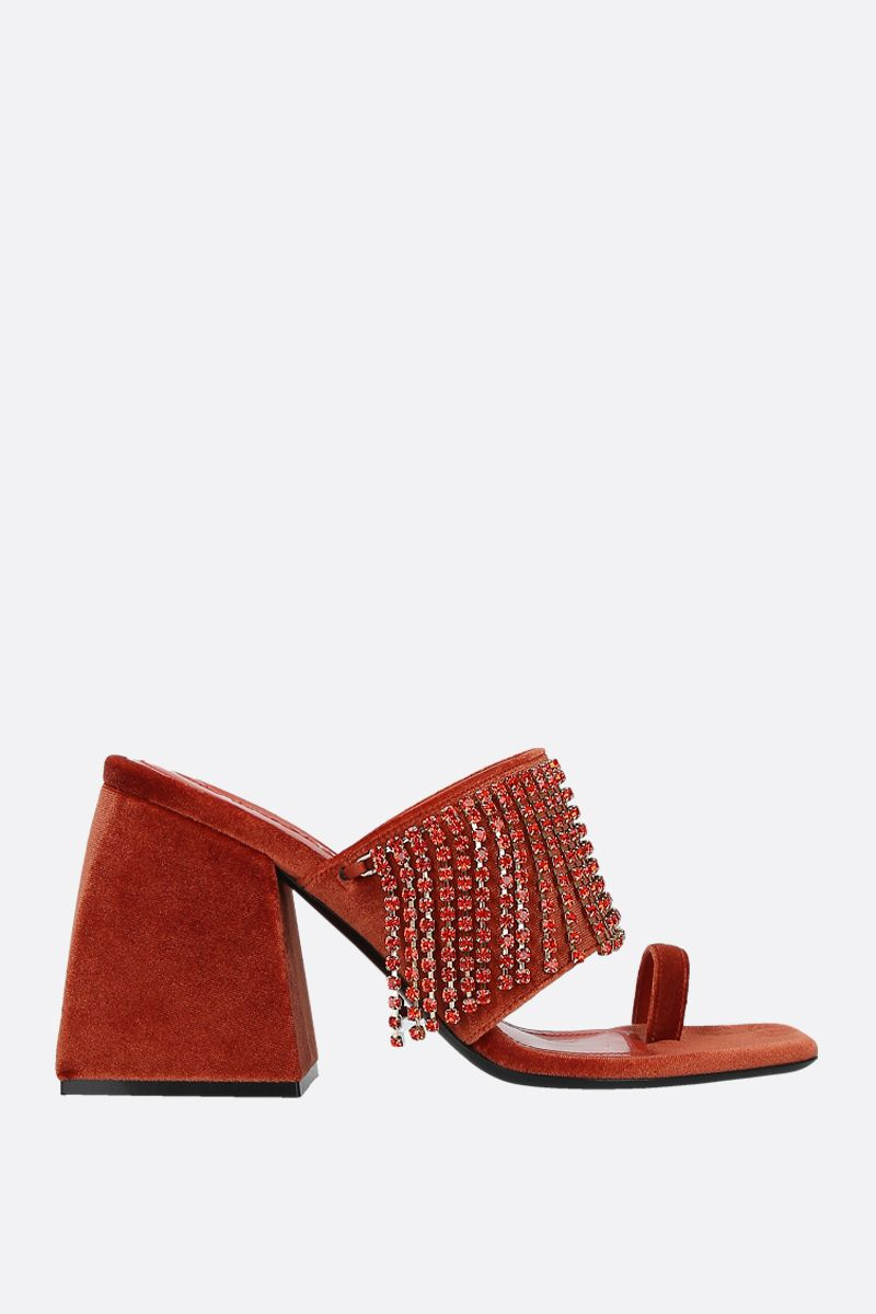 NODALETO: Bulla Preston velvet mule sandals Color Red_1