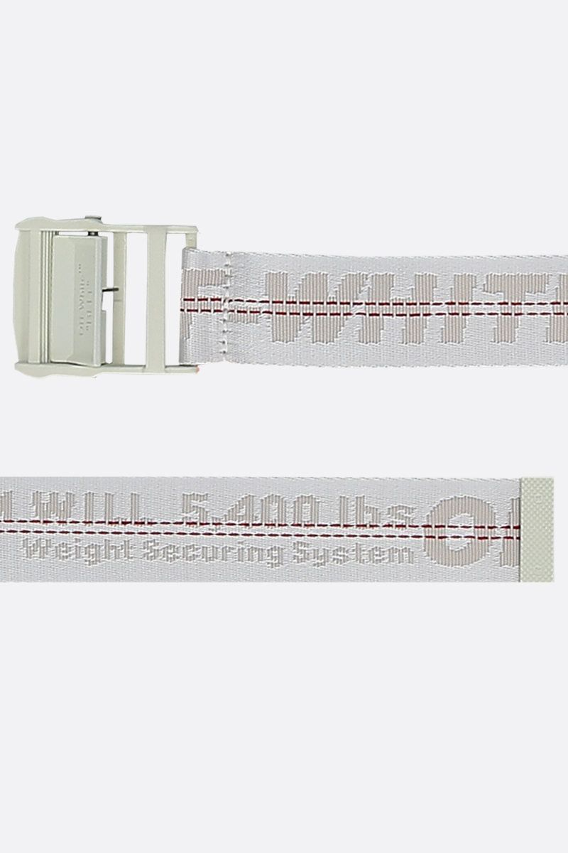 OFF WHITE: Classic Industrial belt in logoed fabric Color White_2