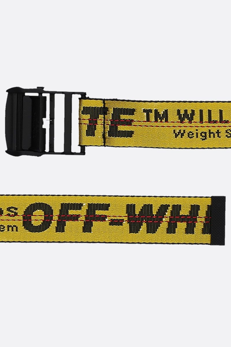 OFF WHITE: Classic Industrial belt in logoed fabric Color Yellow_2