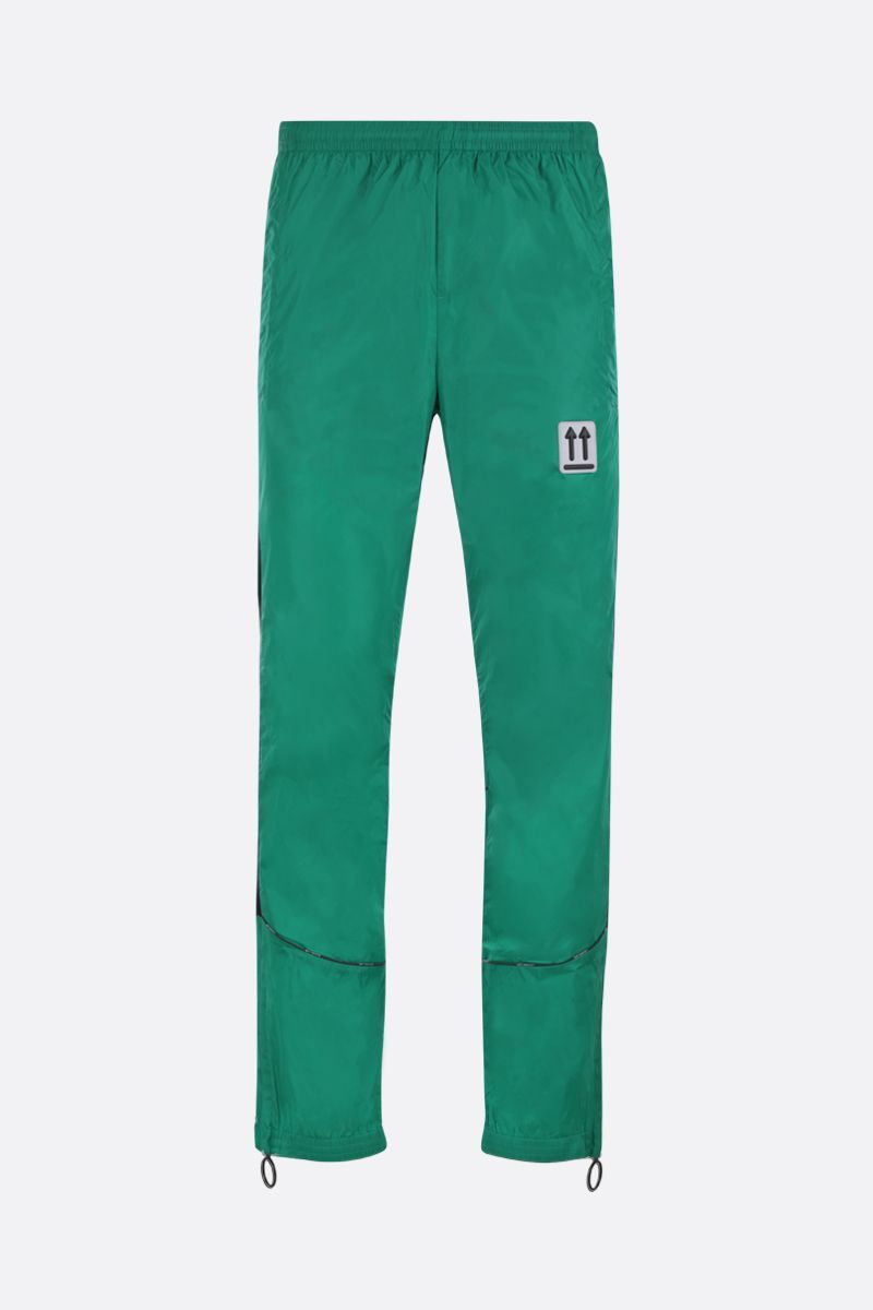 OFF WHITE: pantalone jogging River Trail in nylon Colore Verde_1