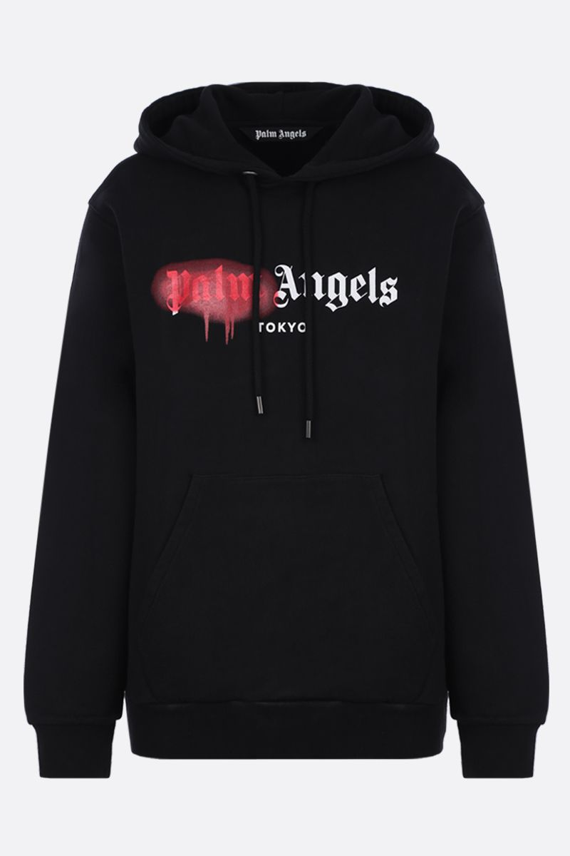 PALM ANGELS: Tokyo Sprayed cotton hoodie Color Black_1