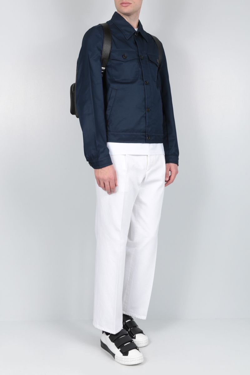 PRADA: technical cotton jacket Color Blue_2