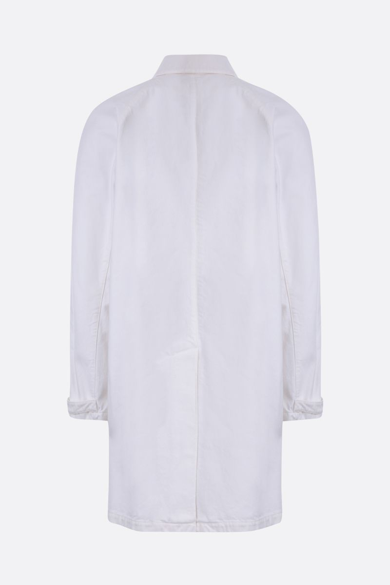 PRADA: denim single-breasted overcoat Color White_2