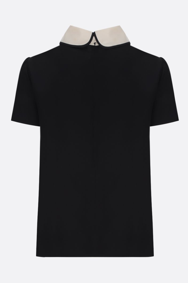 RED VALENTINO: crepe de chine blouse with bow detailing Color Black_2