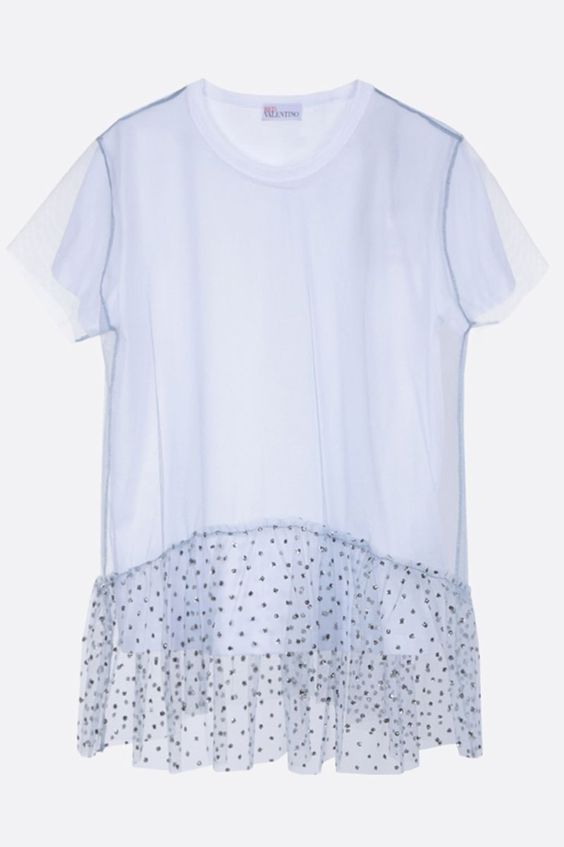 RED VALENTINO: cotton and tulle t-shirt Color White_1