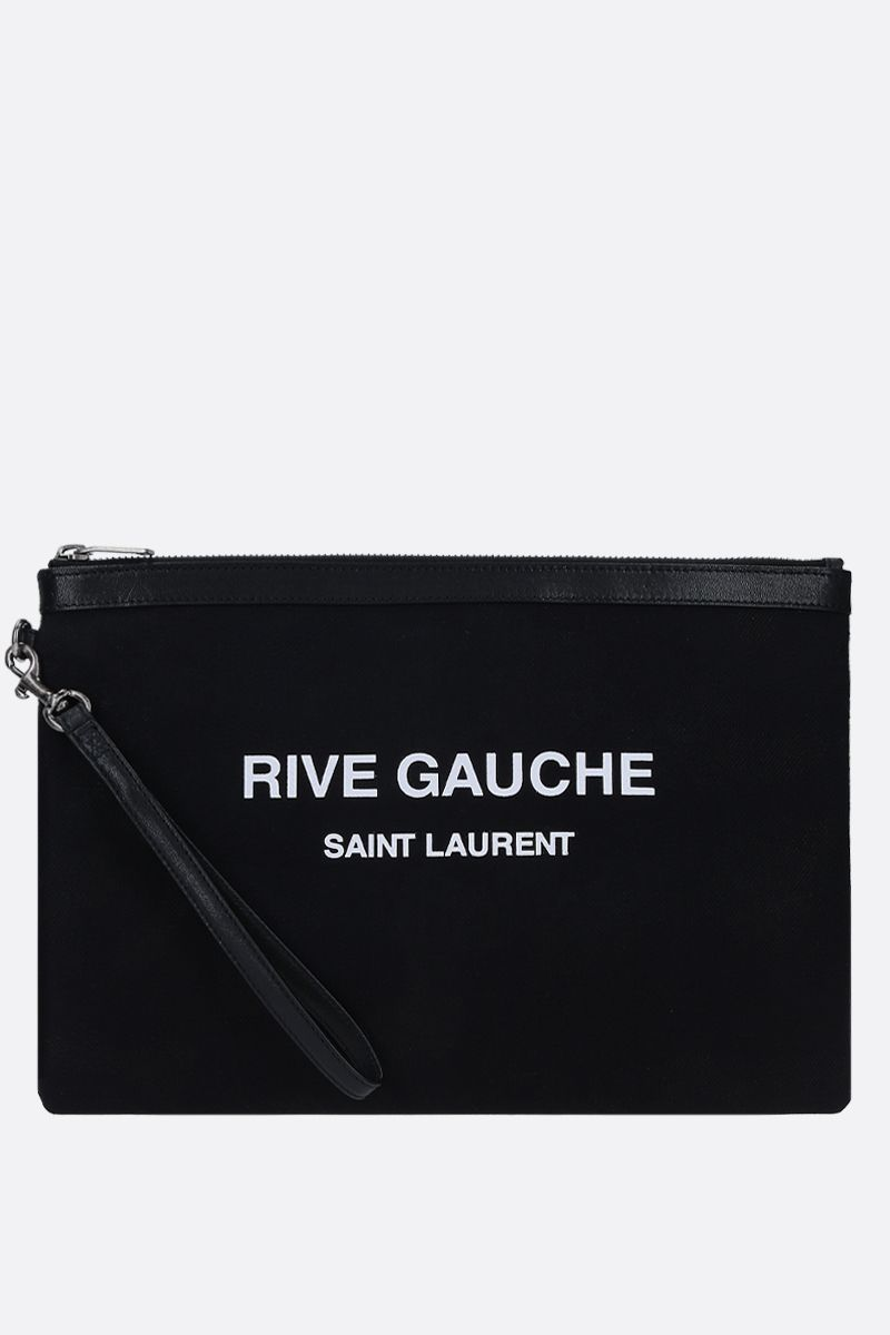 SAINT LAURENT: busta Rive Gauche in tela di lino Colore Nero_1
