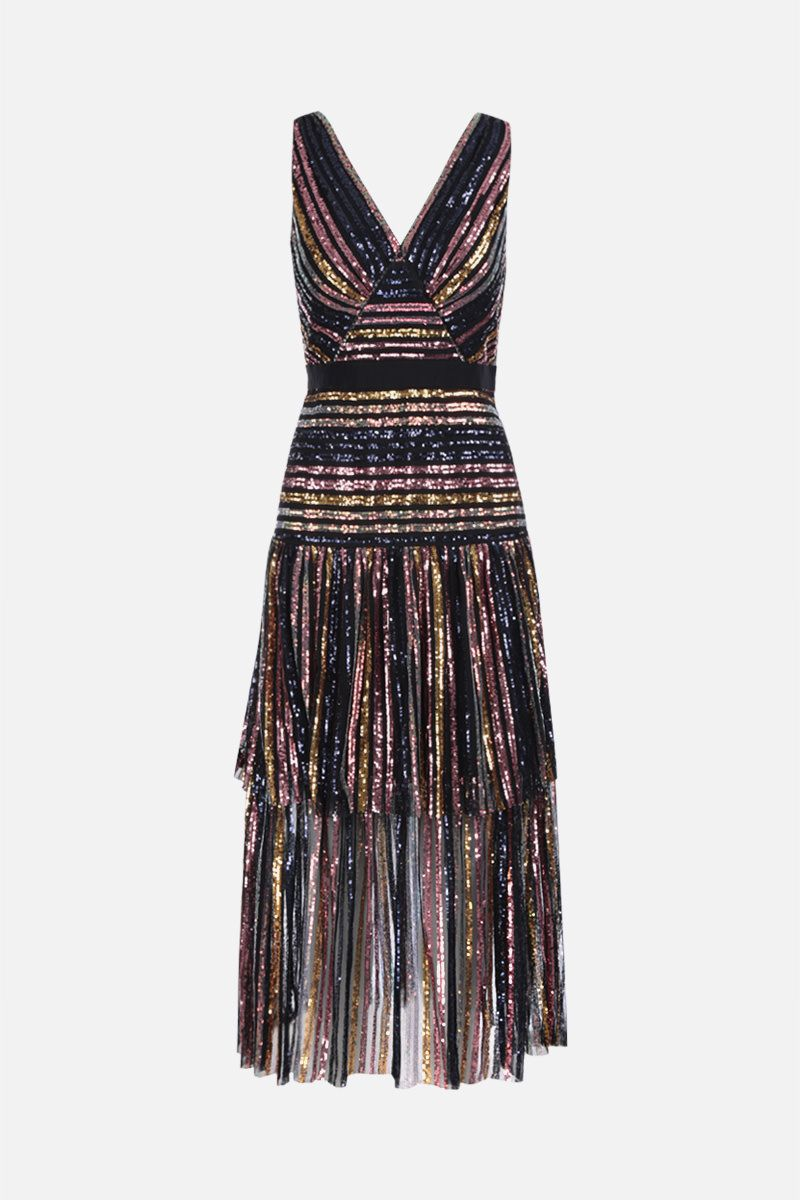 SELF PORTRAIT: stripe sequin midi dress Color Multicolor_1