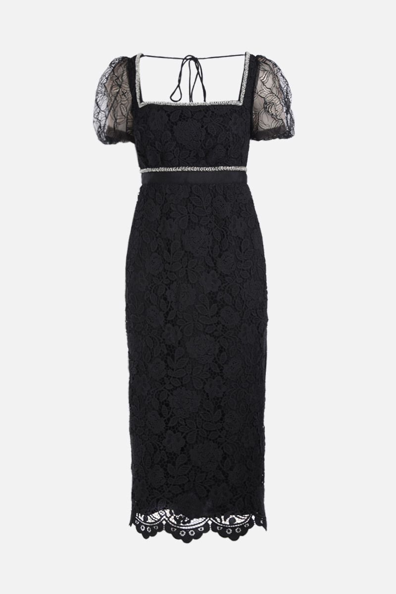 SELF PORTRAIT: floral lace midi dress with crystals and beads Color Black_1