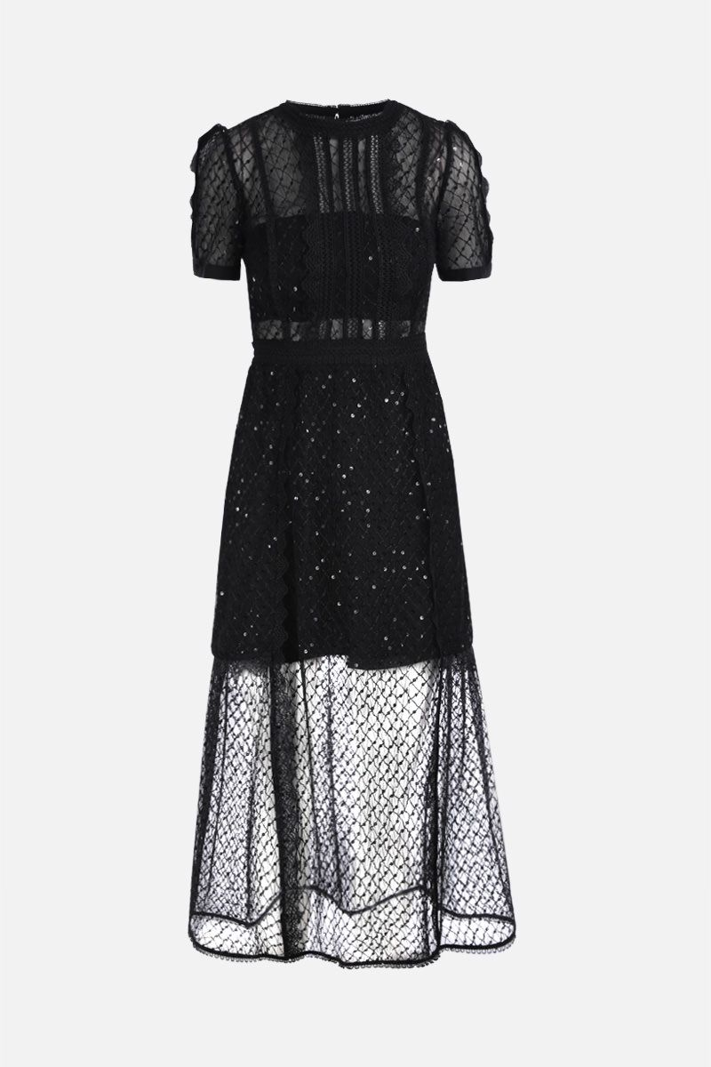 SELF PORTRAIT: tulle midi dress with lace trims Color Black_1