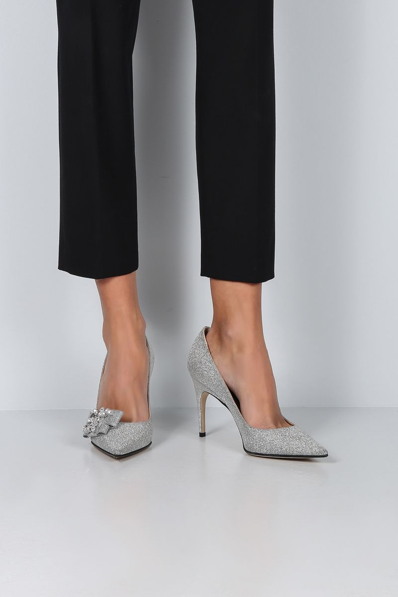 SERGIO ROSSI: sr Icona pumps in glitter fabric Color Silver_2