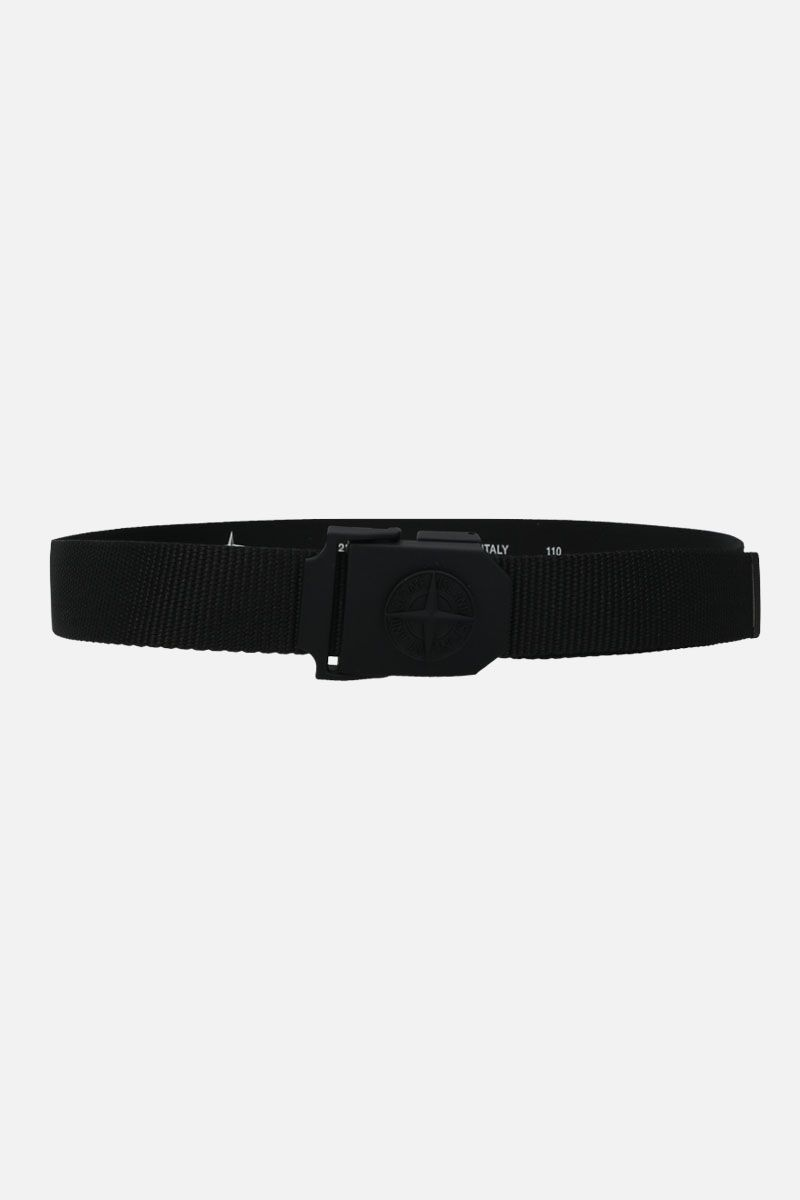 STONE ISLAND: logo buckle-detailed fabric belt Color Black_1