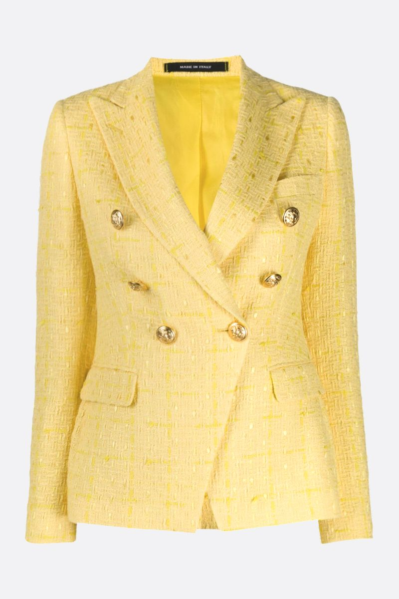 TAGLIATORE: Jalicya tweed double-breasted jacket Color Yellow_1