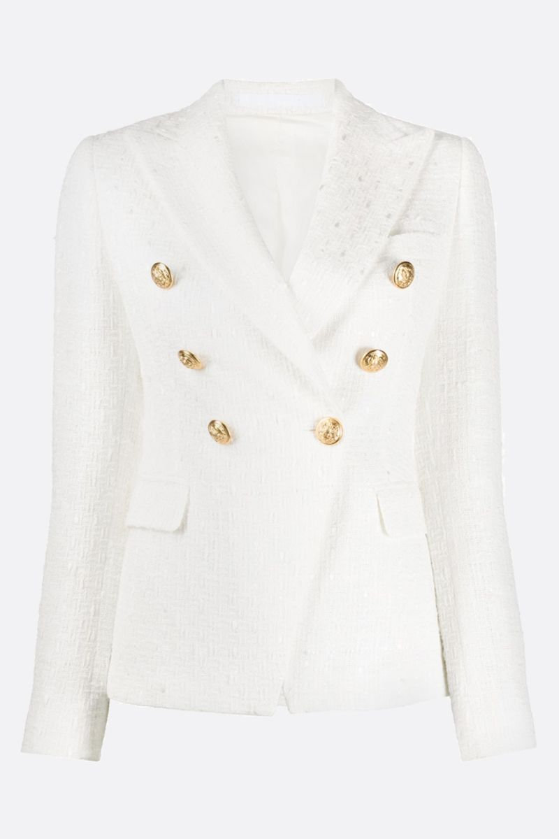 TAGLIATORE: Jalicya tweed double-breasted jacket Color White_1