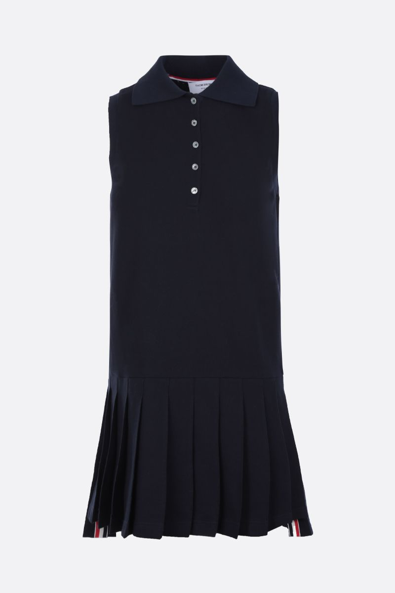 THOM BROWNE: tricolour tape intarsia piquet tennis dress Color Blue_1