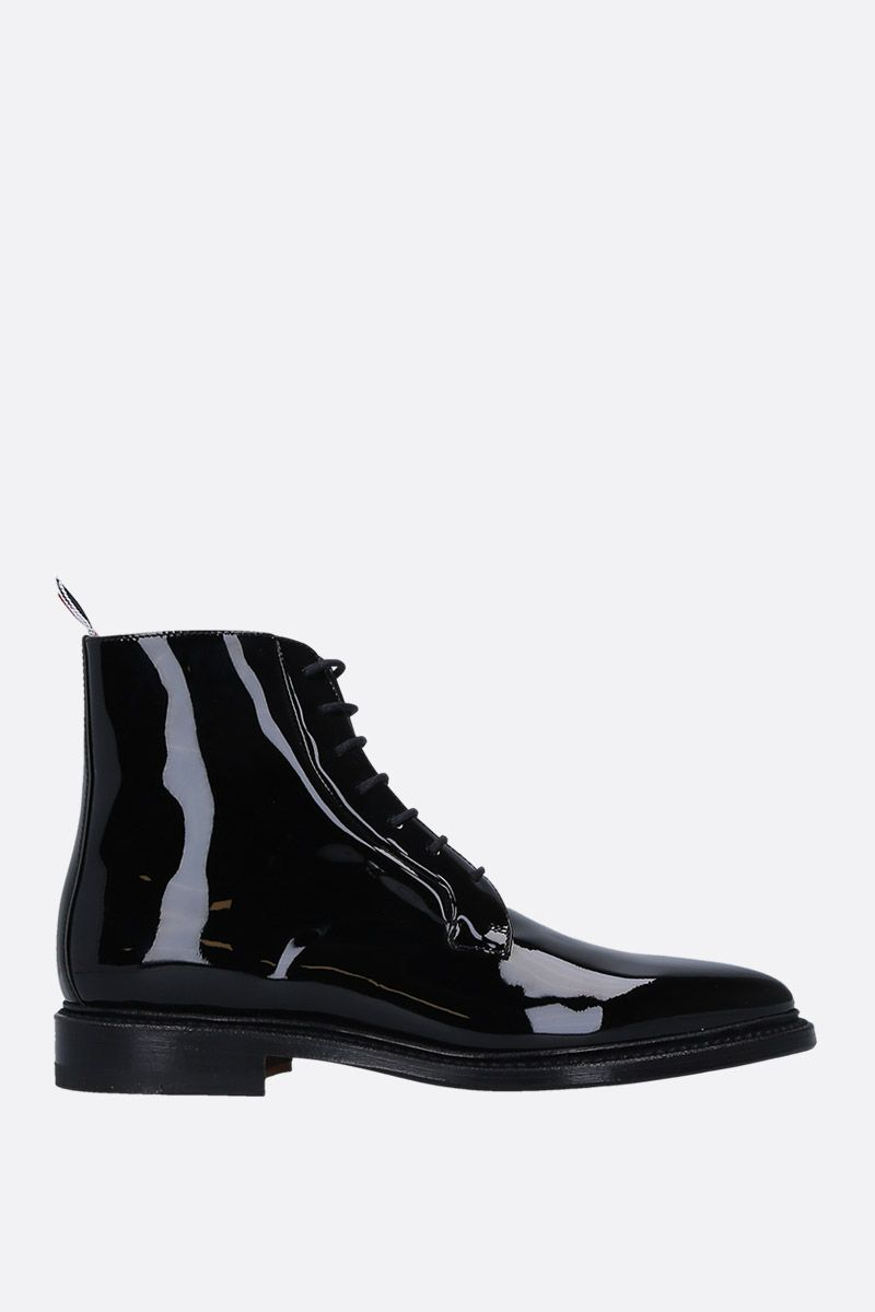 THOM BROWNE: blucher boots in patent leather Color Black_1