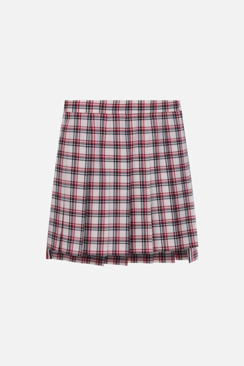 THOM BROWNE: check wool pleated miniskirt Color Red_1