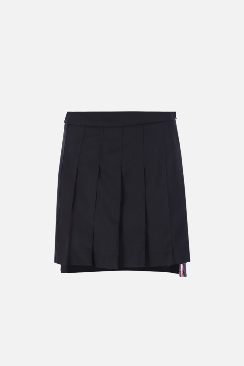 THOM BROWNE: wool twill pleated skirt Color Black_1