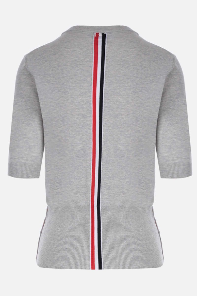 THOM BROWNE: short-sleeved pullover in silk cotton blend Color Grey_2