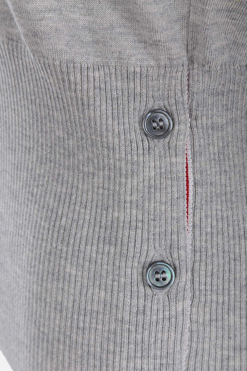 THOM BROWNE: short-sleeved pullover in silk cotton blend Color Grey_4