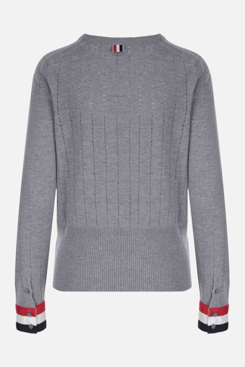 THOM BROWNE: pointelle-stitch wool pullover with tricolor details Color Grey_2