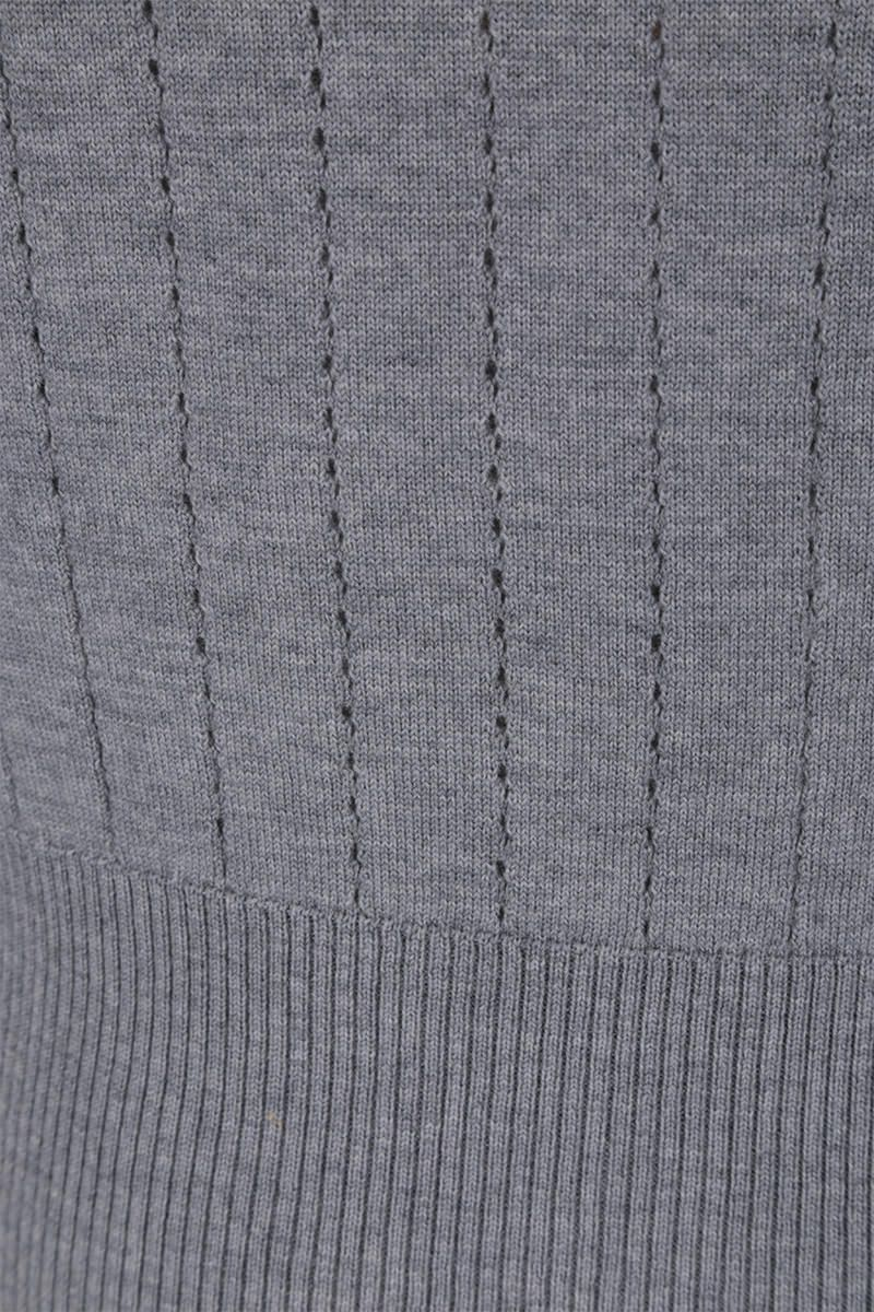 THOM BROWNE: pointelle-stitch wool pullover with tricolor details Color Grey_3